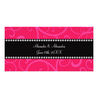 Wedding favors pink swirls picture card
