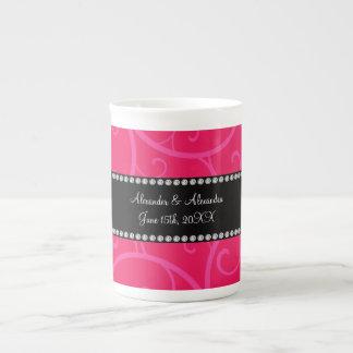 Wedding favors pink swirls porcelain mugs