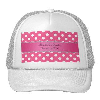 Wedding favors pink white polka dots mesh hat