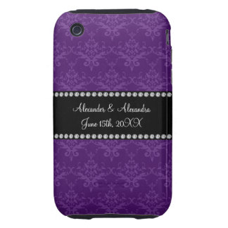 Wedding favors Purple damask iPhone 3 Tough Covers
