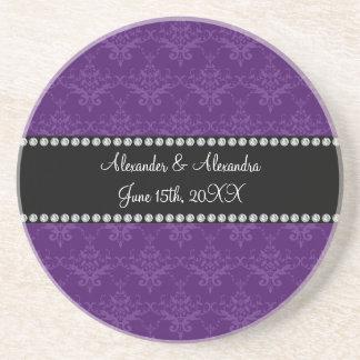 Wedding favors Purple damask Drink Coaster