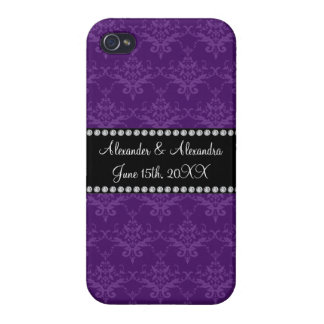 Wedding favors Purple damask Cover For iPhone 4