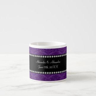 Wedding favors Purple damask Espresso Mug