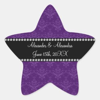 Wedding favors Purple damask Star Sticker