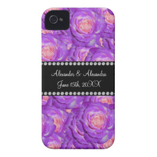 Wedding favors Purple roses Case-Mate iPhone 4 Case