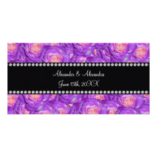 Wedding favors Purple roses Photo Greeting Card
