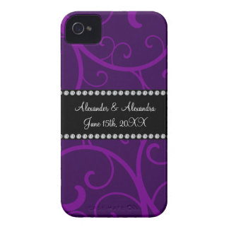 Wedding favors purple swirls iPhone 4 cover