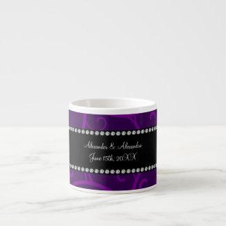 Wedding favors purple swirls espresso mugs