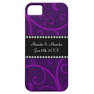 Wedding favors purple swirls iPhone 5 case
