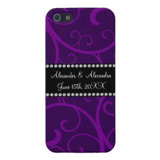 Wedding favors purple swirls cover for iPhone 5