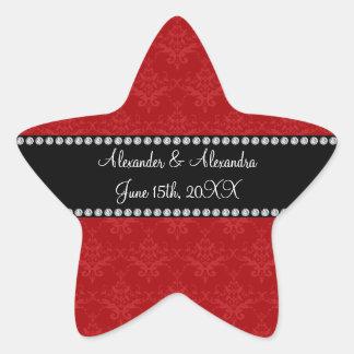 Wedding favors red damask star sticker