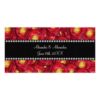 Wedding favors Red roses Customized Photo Card
