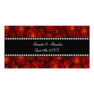 Wedding favors Red roses Custom Photo Card