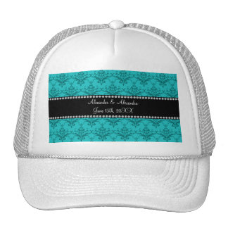 Wedding favors Turquoise damask Mesh Hat