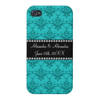 Wedding favors Turquoise damask iPhone 4/4S Cover