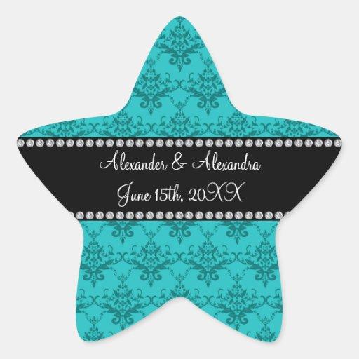 Wedding favors Turquoise damask Star Sticker