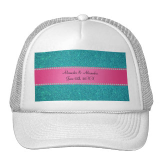 Wedding favors turquoise glitter mesh hats