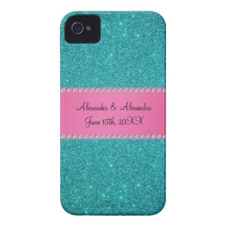 Wedding favors turquoise glitter iPhone 4 covers