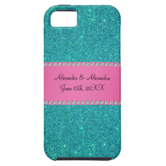 Wedding favors turquoise glitter iPhone 5 case