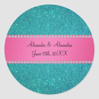 Wedding favors turquoise glitter round sticker