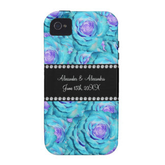 Wedding favors Turquoise roses Case For The iPhone 4