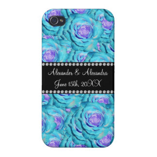 Wedding favors Turquoise roses Case For iPhone 4