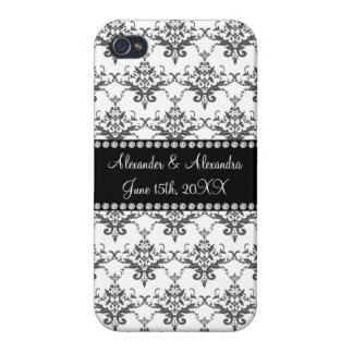 Wedding favors White damask Case For iPhone 4