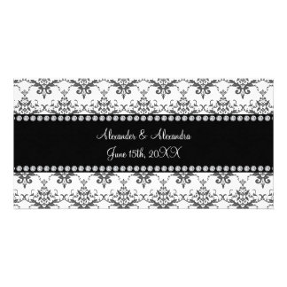 Wedding favors White damask Photo Card Template