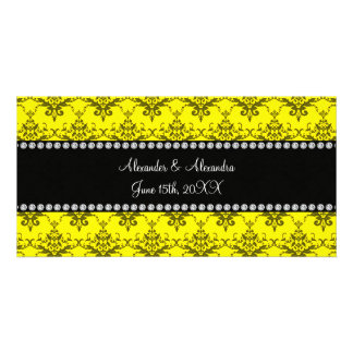 Wedding favors Yellow damask Photo Cards