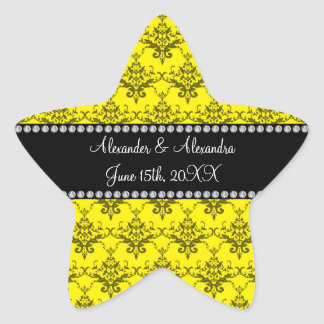 Wedding favors Yellow damask Star Sticker