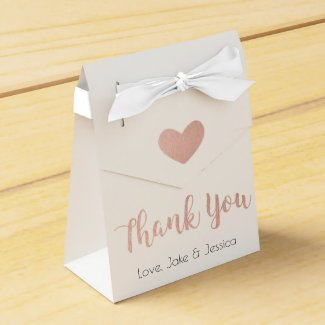 Wedding Favour Box with Rose Gold Thank You