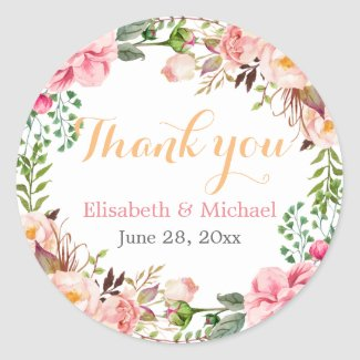 Wedding Favour Romantic Floral Decor Thank You
