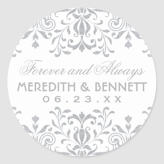 Wedding Favour Stickers | Silver Vintage Glamour