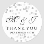 Wedding Favour Tag Faux Silver Foil Glitter Lights Round Sticker