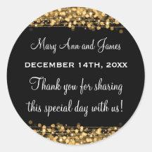 Wedding Favour Tag Magic Party Sparkles Gold Round Sticker