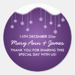 Wedding Favour Tag Snowflake Decoration Purple Round Stickers