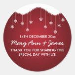Wedding Favour Tag Snowflake Decoration Red Round Sticker