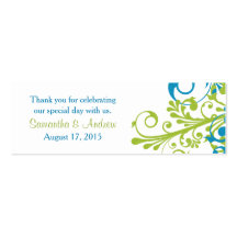 Wedding Favour Tags Abstract Floral Blue Green