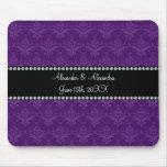 Wedding favours Purple damask Mousemat