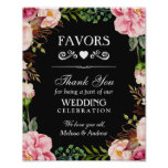 Wedding Favours Thank You Sign | Pink Floral