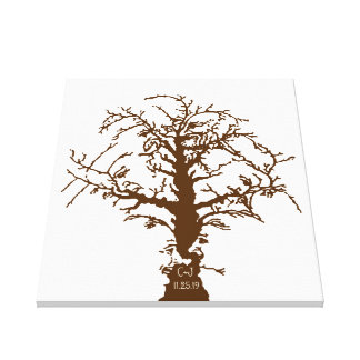 Wedding Fingerprint Big Oak Tree Guestbook Stretched Canvas Print
