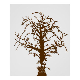 Wedding Fingerprint Big Oak Tree Guestbook Poster