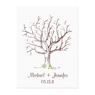 Wedding Fingerprint Tree (Brown) Canvas Print