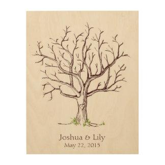 Wedding Fingerprint Tree (Brown) Wood Print