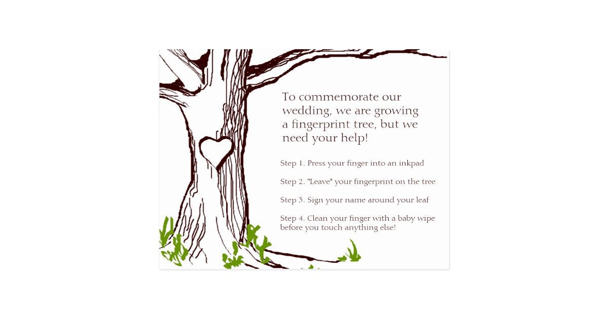 Wedding Fingerprint Tree Instruction Card | Zazzle.co.uk