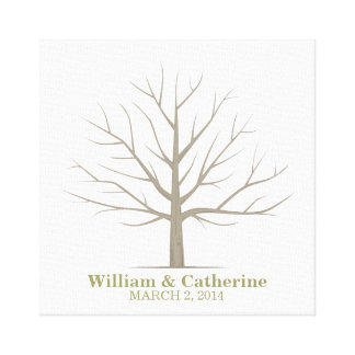 Wedding Fingerprint Tree - Square Canvas Canvas Print