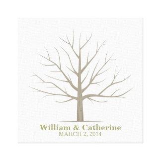 Wedding Fingerprint Tree - Square Canvas Stretched Canvas Prints