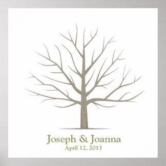 Wedding Fingerprint Tree - Square Posters