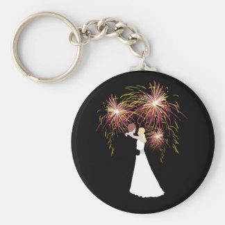 Wedding Fireworks Basic Round Button Key Ring