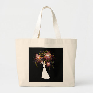 Wedding Fireworks Large Tote Bag
